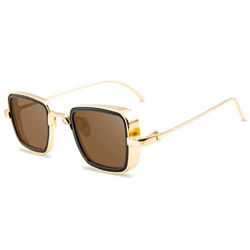 UKKD Gafas De Sol Hombres Moda Marca De Diseño Classic Gafas De Sol Hombres Marco De Oro Gafas De Sol Gafas Punky-Golden Frame