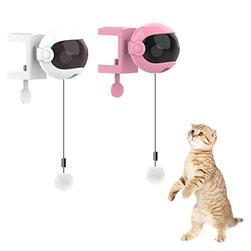 FLAMEER Katzen Federspielzeug Elektrisch Katzenangel Katzenspielzeug Angel Katzen automatisch Intelligenzspielzeug - Weiß