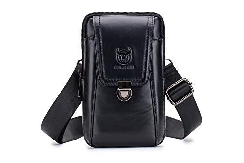 Bolso para hombre de piel auténtica, bolso inteligente para hombro, bolso de cinturón