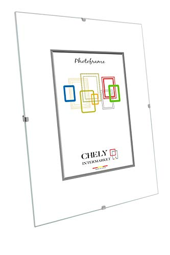 Chely Intermarket Marco Clip A4 de Vidrio | Soporte sin Marco para fotografías, Posters, certificados y Recuerdos. Complemento Ideal para Colgar en la Pared(300-A4-0,40)