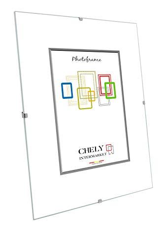 Chely Intermarket, Marco Clip 20x30 cm de Vidrio | Soporte sin Marco para fotografías, Posters, certificados y Recuerdos. Complemento Ideal para Colgar en la Pared(300-20x30-0,40)