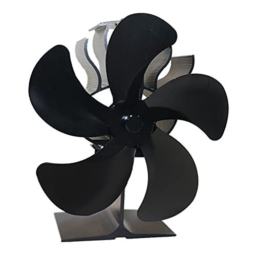 MERIGLARE Ventilador de Estufa Alimentado por Calor: Funcionamiento Silencioso 5 Aspas para Leña/Quemador de Leña/Chimenea: Distribución de Calor Eficiente - Negro