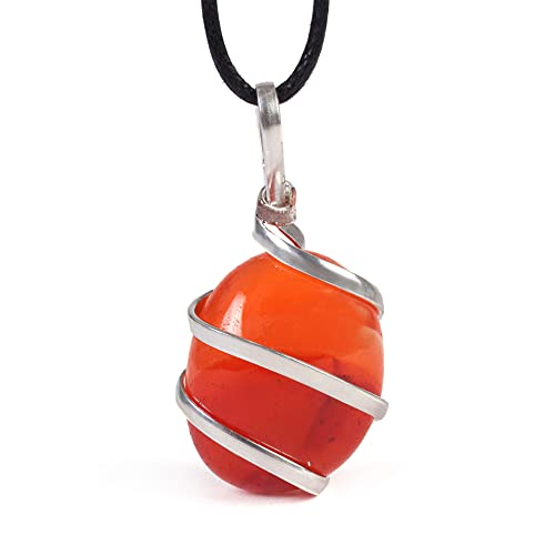 Raw Tumbled Carnelian Crystal Healing Pendant Necklace - For Motivation Strength Leadership Endurance Inspiration Courage - Authentic Stone On Silver Plated Chain Real Gemstone Chakra Healing Charm