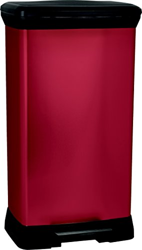 CURVER | Poubelle à pédale rectangulaire 50L, Rouge, 39 x 29 x 72 cm, Plastique