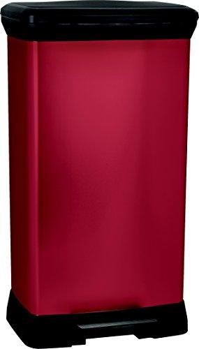 CURVER 187181Cubo de Basura con Pedal (Rectangular Metal/Plástico Metal Rojo 39x 29x 73cm 50L
