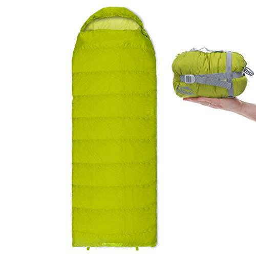 Qeedo Sommer-Schlafsack Light Hitazo XL, kleines Packmaß (19 x 17 cm) / Deckenschlafsack extrem klein & leicht (745g) - grün
