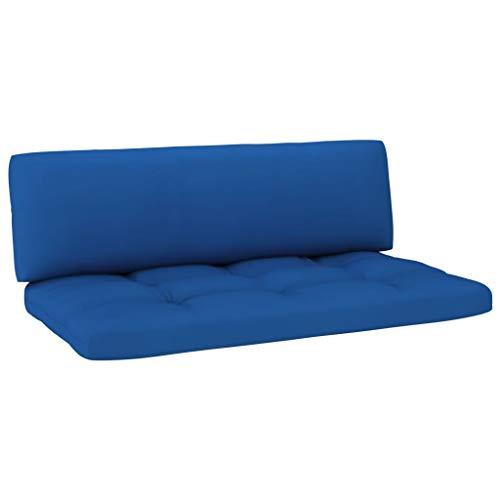 vidaXL Cojines para Sofá de Palés 2 Piezas Asiento Silla Respaldo Jardín Patio Balcón Terraza Exterior Suave Cómodo Decoración Azul Royal