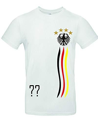 myfashionist Kinder T-Shirt Fußball Trikot WM/EM Deutschland Trikot in Verschiedene Grössen für Jungen und Mädchen mit Wunschname UND Wunschnummer WEIß (Weiß 110/116 Weiß)