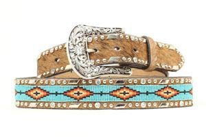 Ariat Women's Beaded Ribbon Inlay Belt Brown Small