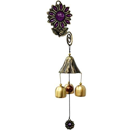 Zelro Vintage Shopkeepers Deur Bell Wind Chime Triple Deurbel met 3 messing klokken Geweldig als een Kwaliteit Geschenk Geschikt voor Patio veranda tuin of achtertuin Decoratie Paars