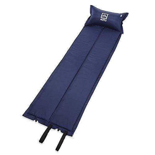 HOUMEL slaapmat Ultralight opblaasbare kampeermatras met kussens, comfortabele rolmatten, blauw lichtgewicht compact luchtkussen, draagbaar en opklapbaar eenpersoonsbed voor buitenactiviteiten
