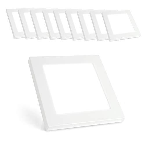 Xtend PLd2.0 Lot de 10 plafonniers LED carrés 180 x 180 mm Blanc chaud 3000 K 12 W seulement 15 mm de haut bloc d'alimentation intégré ou montage en saillie