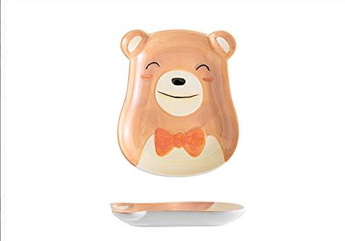 Plato de cerámica plato de desayuno para niños del hogar vajilla animal lindo oso 19 * 21cm