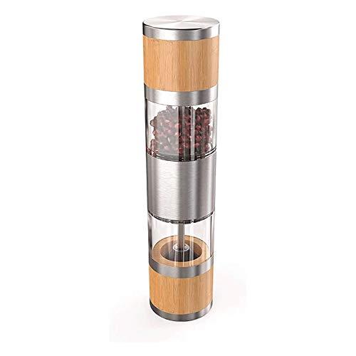 Yibokang Jeu de moulins à poivron en acier inoxydable manuel 2 en 1 avec rotor en céramique réglable en acier inoxydable brossé en acier inoxydable brossé et moulin à épices pour le sel de mine de poi