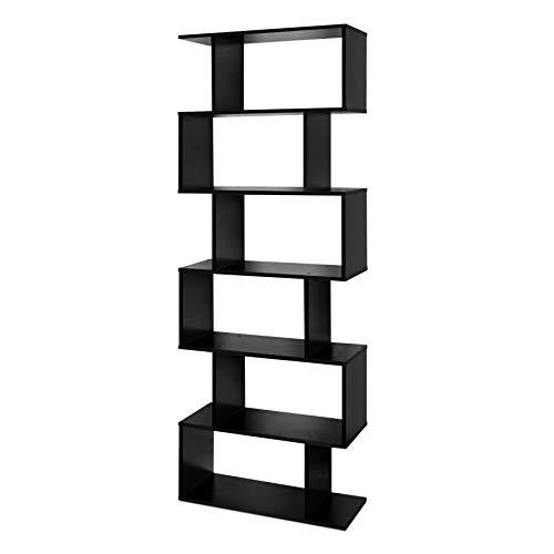 Lillyvale Wood Bookcase Bookshelf S Shape 6 Tier Shelves Free Standing Shelving Storage Display Unit Organizer for Living Room Black White (Black)