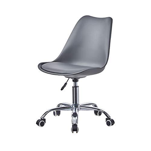 CLIPOP Drehstuhl mit Lehne , Arbeitshocker auf Rollen, höhenverstellbar Bürostuhl 360° drehbar Bürohocker Schreibtischstuhl (grau)