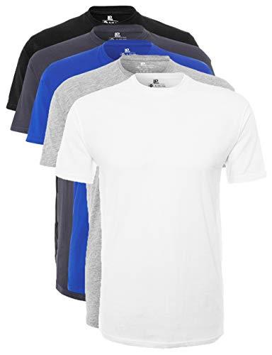 Lower East Herren T-Shirt mit Rundhalsausschnitt, Mehrfarbig (Weiß/Grau Melange/Olympia Blau/Folkstone Grey/Schwarz), Large, 5er Pack