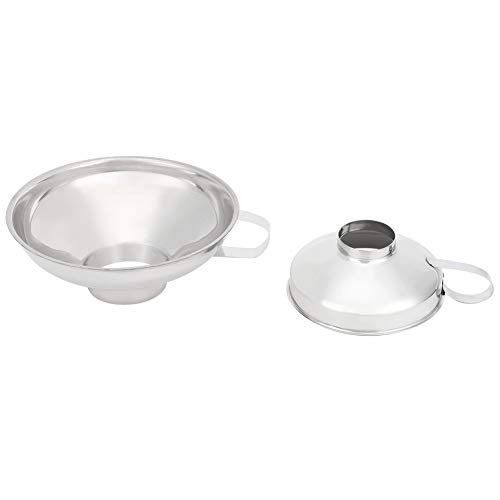 Uxsiya Embudo de boca ancha, taza de embudo de acero inoxidable extra gruesa para aceite para alimentos granulares grandes enlatados para soja