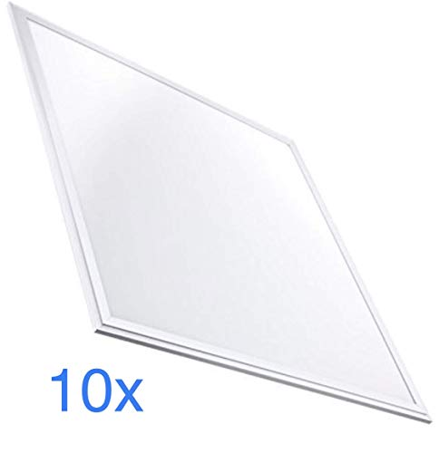 Pack 10x Panel LED Slim 60x60 cm, 40w, Color Blanco Frío (6500K). 3200 Lumenes. Driver...