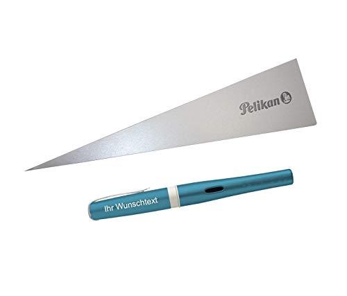 Pelikan Füllhalter Pelikano Up, Feder M, inkl. Laser-Gravur, Farbe Ice Blue