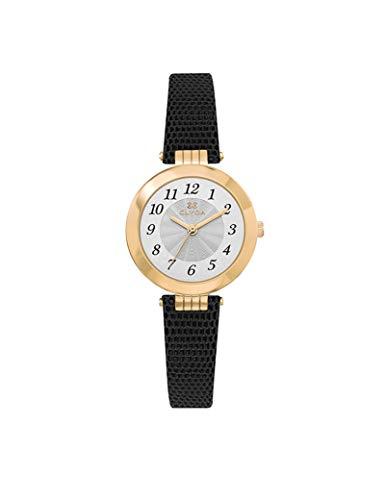 Reloj Clyda de piel para mujer, color burdeos