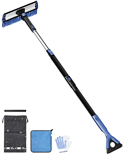 JOYTUTUS Snow Brush, 5-in-1 Extendable 21″-47″ Snow Brush for Car, Durable & Sturdy, No Scratch, 270° Auto Snow Scraper with Brush, Foam Grip, Detachable ABS Ice Scraper for Car, SUV, Truck(Blue)