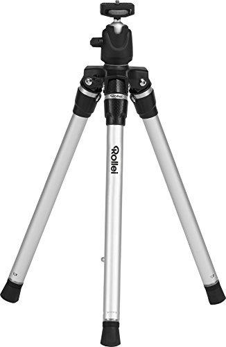 Rollei Compact Traveler Star S3 Plus - Reisestativ mit integriertem Kugelkopf und umkehrbarer Mittelsäule für Makroaufnahmen, inkl. Stativtasche - Silber