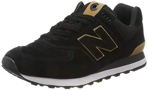 New Balance Herren 574v2 Sneaker, Schwarz (Black/Yellow Black/Yellow), 43 EU