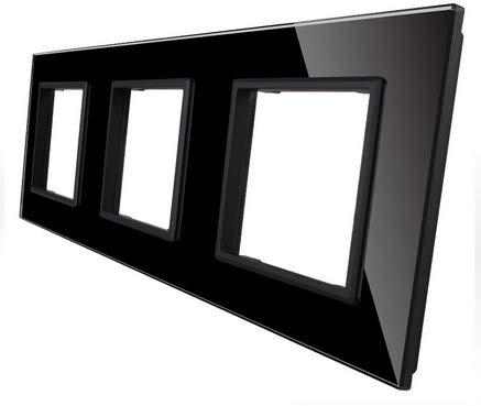 LIVOLO Steckdosen Glasrahmen Spritzwasserschutz Glasblende schwarz (3 Fach Rahmen schwarz VL-C7-SR/SR/SR-12-A)