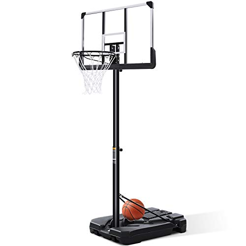 Portable Basketball Hoop & Goal Basketball System Basketball Stand Height Adjustable 7ft 6in-10ft with 44 Inch Backboard & Wheels for Youth Kids Indoor Outdoor Use