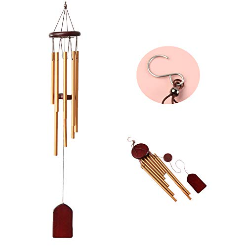 Outdoor wind chimes 26 inches small sympathy wind clock with 8 Aluminum Tubes Commemorative Organ Garden, outdoor clearance deep tone wind chimes Courtyard, Family Best Gift Decoration (Red matte)