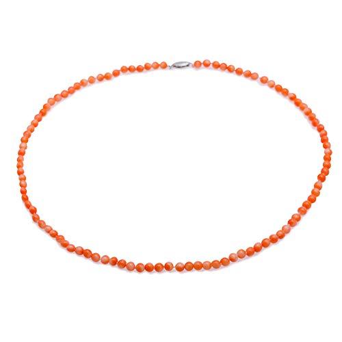 JYX - Collar de coral de 4 a 5 mm, redondo, 48 cm, para mujer