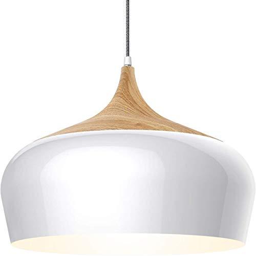 Luces de techo nórdicos, araña de madera de aluminio creativo moderno, comedor Cocina Cafetería Sala de estar Estudio Colgante Luces, Blanco