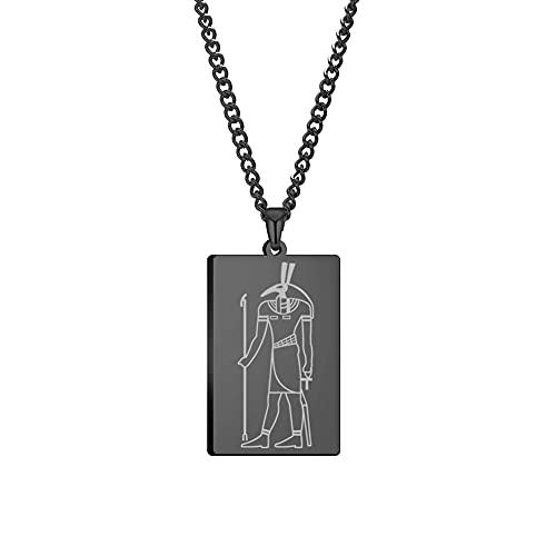 Amaxer Collar con colgante de Dios egipcio para mujeres y hombres, Dios egipcio de los nueve pilares, joyería de acero inoxidable L negro