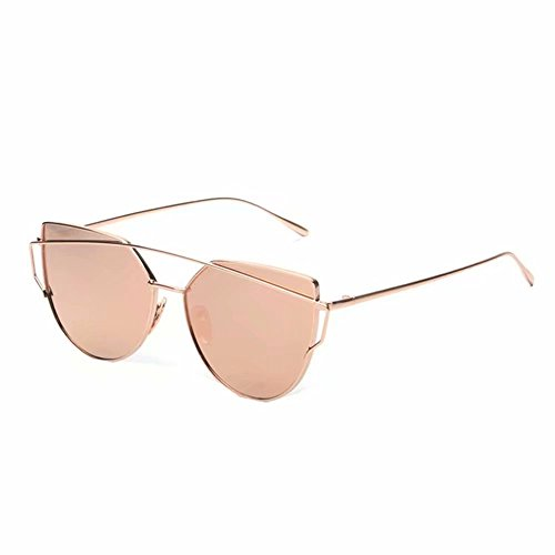 Yistu Twin-Träger klassische Frauen Metallrahmen Spiegel Sonnenbrille Cat Eye Brillenmode (Rose Gold)