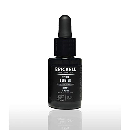 Brickell Men's Protein Peptides Booster Serum for Men, Natural and Organic Protein Peptides Booster for Face to Firm and Restore Skin, Boost Collagen Production and Fight Aging (Unscented, 15 mL)