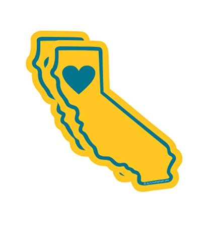 California Sticker | 2 Pack Small Heart in California Golden State Shape | 3x1.5in Waterproof Vinyl | Apply Decal to Water Bottle Laptop Cooler Car Bumper Tumbler