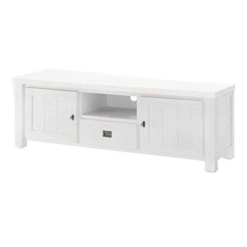 Preisvergleich Produktbild MÖBEL IDEAL TV Board Lyron I Lowboard im Landhausstil aus Massivholz I B168 x H58 x T49 cm - Oberfläche in Weiß lackiert