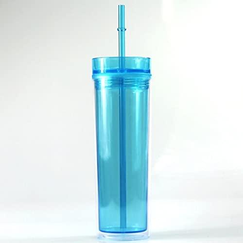 16 Vasos de doble pared con tapas y pajitas Vasos reutilizables de plástico delgados para jugo de agua Botella de viaje para automóvil al aire libre BPA Free-450ml, azul