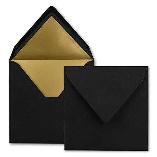 Karten und Co. - Sobres (cuadrados, 15,5 x 15,5 cm, con adhesivo húmedo, forro metálico), color 39 – Negro – Forro dorado. 25