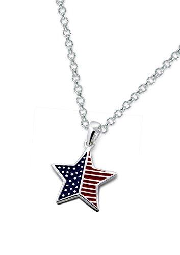 Laimons dameshanger Amerikaanse vlag ster met ketting 45cm sterling zilver 925