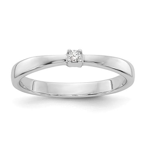Anillo de diamantes de 03 quilates con parte trasera cerrada pulida y cerrada, talla L, 1/2, para mujer