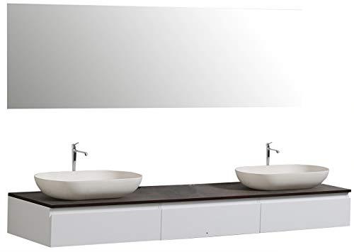 Badmöbel Vision 1800 Weiß matt - Spiegel und Aufsatzwaschbecken optional, Spiegel:Ohne Spiegel, Zusätzl. Blende für Ablaufgarnitur:ohne zusätzl. Blende, Auswahl Waschbecken:Ohne Waschbecken