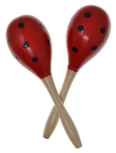 Maracas 1 paio Maracas spagnole Rosso Colore a pois Colori tradizionali spagnoli Rumba Shakers Sonaglio Percussioni a mano Strumento musicale maraca