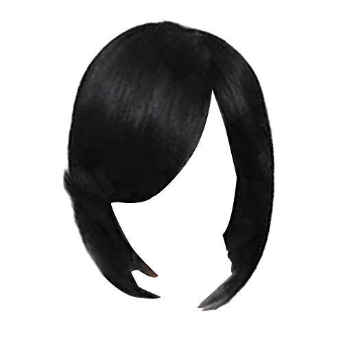 WOVELOT Européen et Américain Mesdames Mode Réaliste Naturel Haute Température Soie Court Raides Cheveux Raides les Accessoires de Vacances Fête Noir