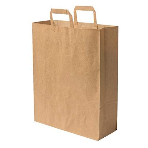100 Sac papier poignée renforcée marron 16 LITRES 40 cm haut x 32 large x 12 cm soufflet cabas boutique solide résistant sac vente à emporter sac magasin sac sac commerce sac cadeau emballage