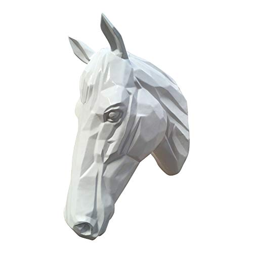 dasmöbelwerk Pferdekopf Wand Figur Skulptur Horse Pferd Kopf Wandschmuck Dekoration in Weiss Silber schwarz 67 cm hoch (Weiss)