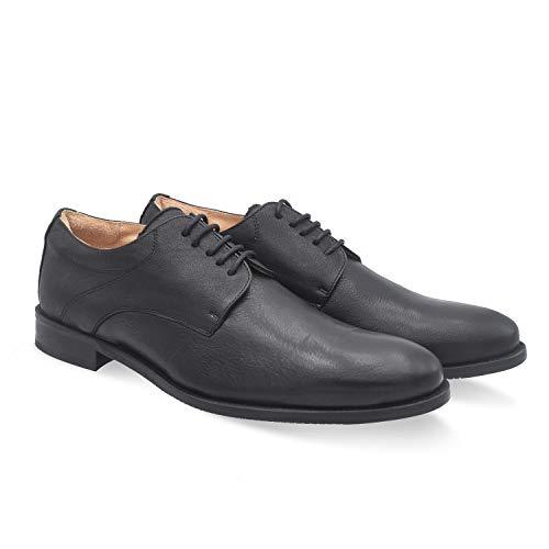 Corfu Negro 41 EU- Zapato clásico Hombre cómodo - Piso de Cuero - Plantilla extraíble y recambiable - Piel ecológica sin Cromo - Forrados de Piel - Moda sostenible