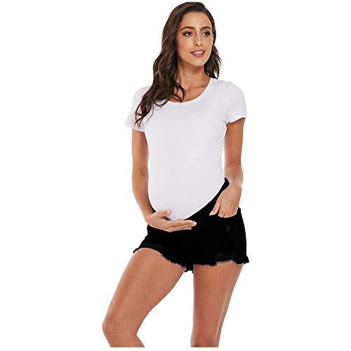 Vuncio Umstandsjeans Damen Löcher Kurze Hose Damen Jeans High Waist Zerissen Sommer Große Größe Casual Sportshirts Maternity Umstandsmode (Schwarz, M)