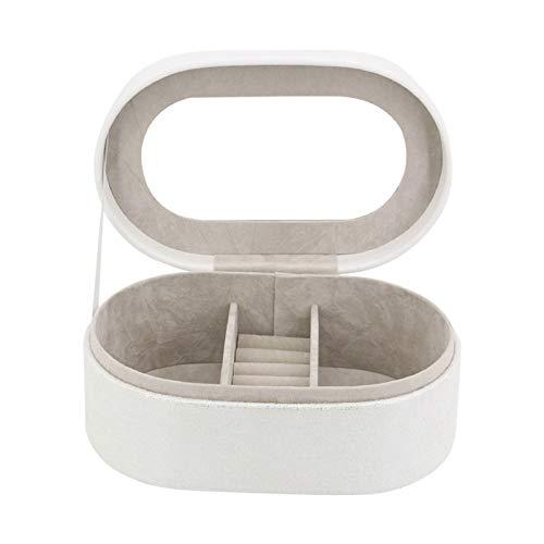 Caja Joyero Caja de Joyas Caja de joyería pendiente del collar del reloj del anillo de almacenamiento organizador de viajes de piel sintética Jewel Case regalo Gabinete for Mujeres, blanco Ewelry Orga